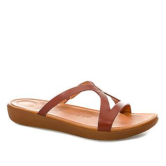 Womens Fitflop Strata Leather Slide Sandals In Cognac
