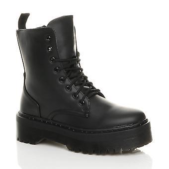 Ajvani Womens chunky platform goth grunge punk lace up ankle boots