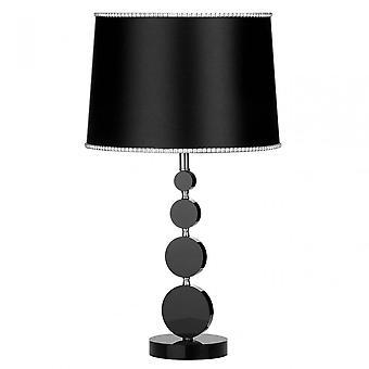 Premier hem elliptisk bordslampa, krom, kristall, tyg, svart
