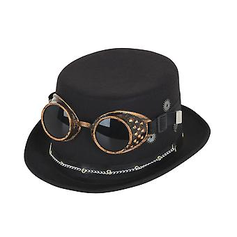 Bristol Novelty Unisex Adults Steampunk Top Hat And Goggles