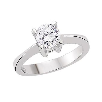 Jewelco London Rhodium Plated Sterling Silver Round Brilliant Cubic Zirconia 4 Claw Solitaire Engagement Ring