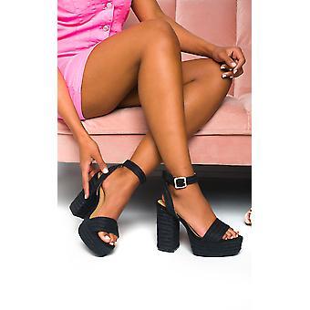 IKRUSH Womens Razzy Raffia Block High Heels