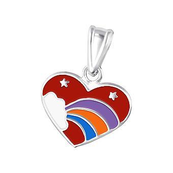 Heart - Epoxy Colour + 925 Sterling Silver Pendants - W10689X