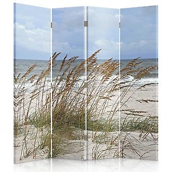 Room Divider, 4 Panels, Double-Sided, 360 ° Rotatable, Canvas, Sea Grass