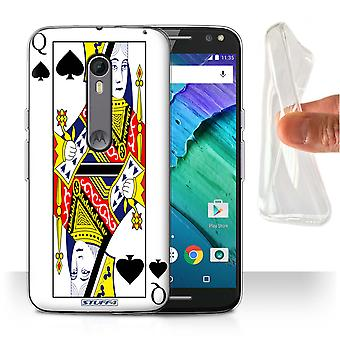 STUFF4 Gel/TPU Case/Cover for Motorola Moto X Style/Queen of Spades/Playing Cards