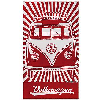 Official VW Camper Van Large Cotton Beach Swimming Towel - Red