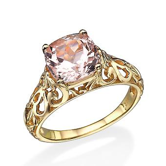 2.00 CT natural peach/pink VS Morganite Ring 14k Yellow Gold Vintage Art Deco Vine