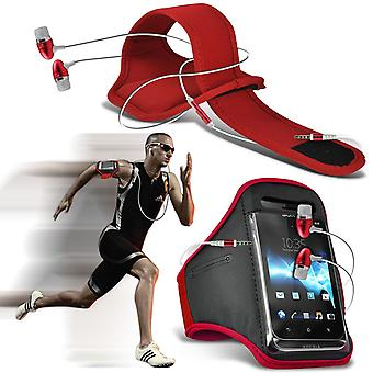 ( Red + Earphones) BLACKVIEW BREEZE case High Quality Fitted Sports Armbands Cover By i-Tronixs