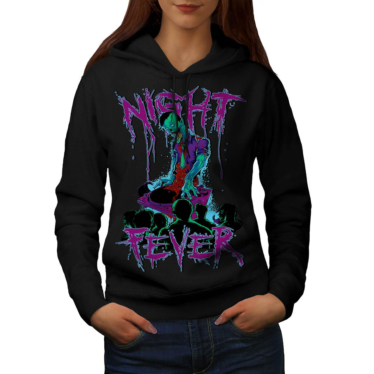 DJ Zombie Night Fever Undead Rip Women Black Hoodie | Wellcoda