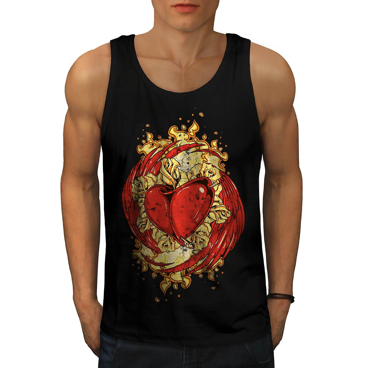 Heart Rose Flame Vintage Men Black Tank Top | Wellcoda