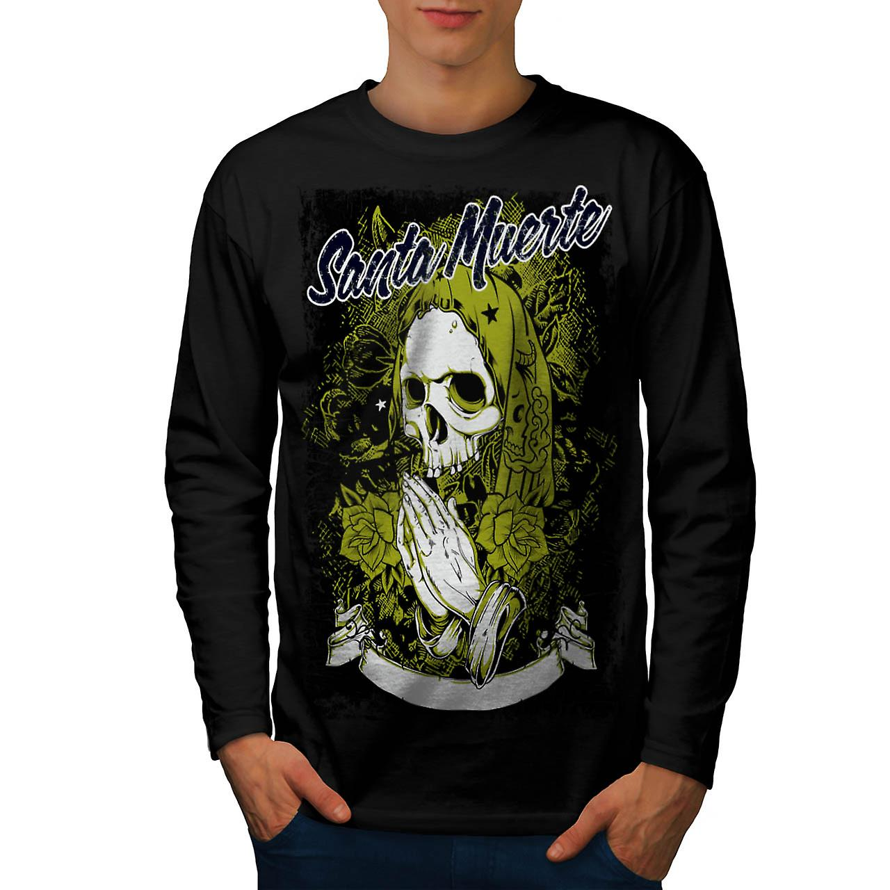 Santa Muerte Skull Death Rage Men Black Long Sleeve T-shirt | Wellcoda