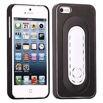 Aluminium en plastic dopje met ondersteuning voor iPhone 5 (zwart)