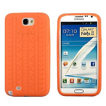 Cover with standard tire in silicone, for Samsung Galaxy Note 2 (orange)