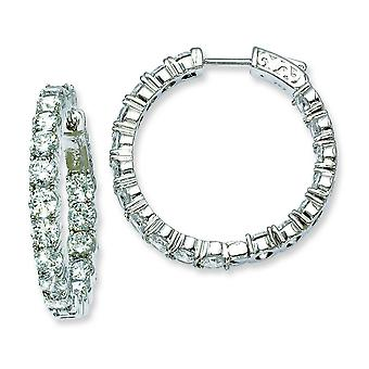 Sterling Silver Rhodium Plated With Cubic Zirconia Hinged Hoop Earrings