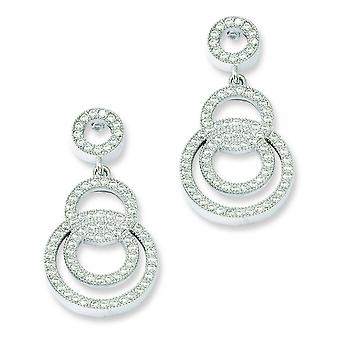 Sterling Silver and CZ Fancy Circle Dangle Post Earrings
