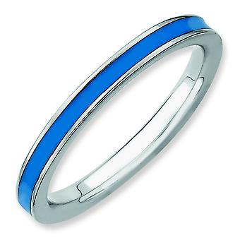Sterling Silver Stackable Expressions Blue Enameled 2.25mm Ring - Ring Size: 5 to 10