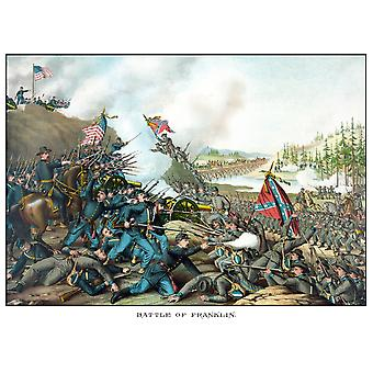 Vintage Civil War print of the Battle of Franklin The battle was fought on November 30 1864 at Franklin Tennessee as part of the Franklin-Nashville Campaign Poster Print