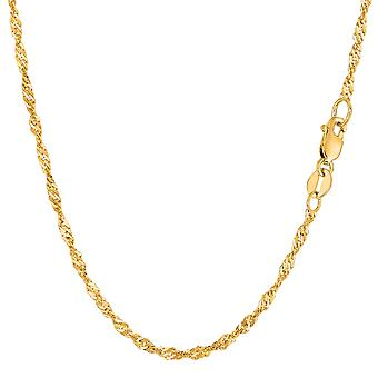 14k Yellow Gold Singapore Chain Necklace, 2.1mm