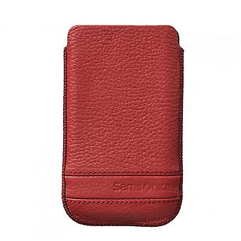 SAMSONITE CLASSIC Mobile bag leather XL Red to tex S3/S4