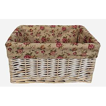 White Wash Garden Rose Lined Storage Baskets Set 4