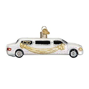 Just Married Fine White Limo Christmas Holiday Ornament Glass 5 Inches