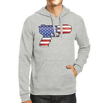 Pistol American Flag Unisex Grey Hoodie Gifts For Gun Supporters