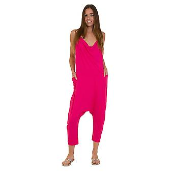 Jersey buksedragt - Hot Pink slip skridtet let Stretch afslappet Fit Playsuit