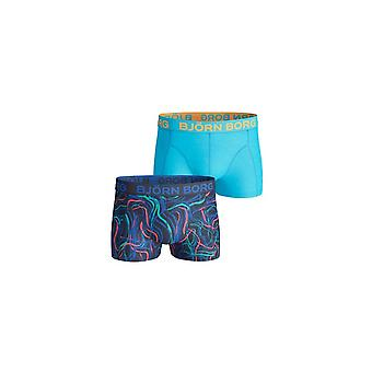 Bjorn Borg 2-Pack Electric Fibres Print & Solid Boxer Trunks, Blue/Navy