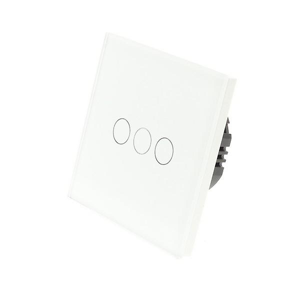 I LumoS White Glass 3 Gang 1 Way Touch LED Light Switch