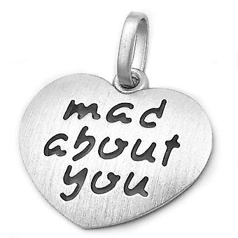 Solide hart hanger met charms, hart 'mad about you' love rhodium-plated zilver 925