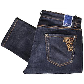 Versace kollektion V600280a strække Slim Fit Dark Blue Jeans