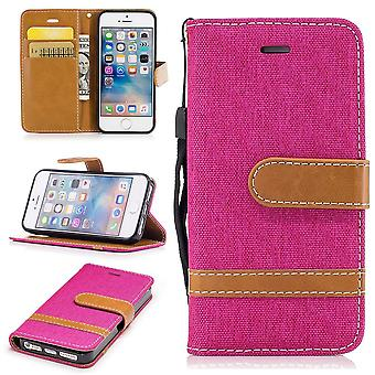 Case for Apple iPhone 5 / 5 s / SE jeans cover cell protection cover case pink