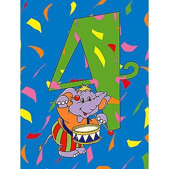 Carolines skatter APH2162GF Happy 4de bursdag alder 4 flagg hage størrelse
