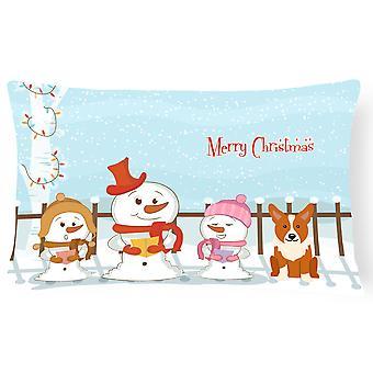 Merry Christmas Carolers Corgi Canvas Fabric Decorative Pillow