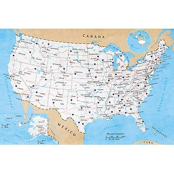 Map of USA - Road Map Poster Poster Print
