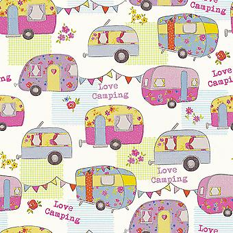 Colourful Caravan Wallpaper Camper Van Bright Fun Funky Bunting AS Creation