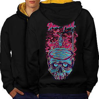 Fashion Horror Pool Skull Men Black (Gold Hood) Contrast Hoodie Back | Wellcoda