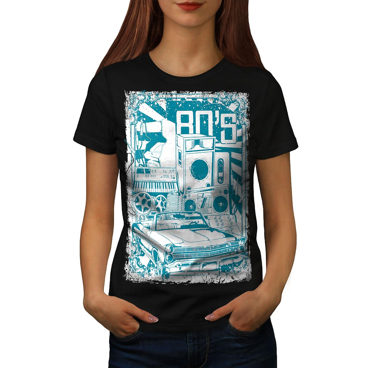 80s Music Car Vintage Women Black T-shirt | Wellcoda