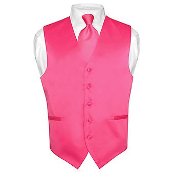 Men's Dress Vest & NeckTie Solid Neck Tie Set