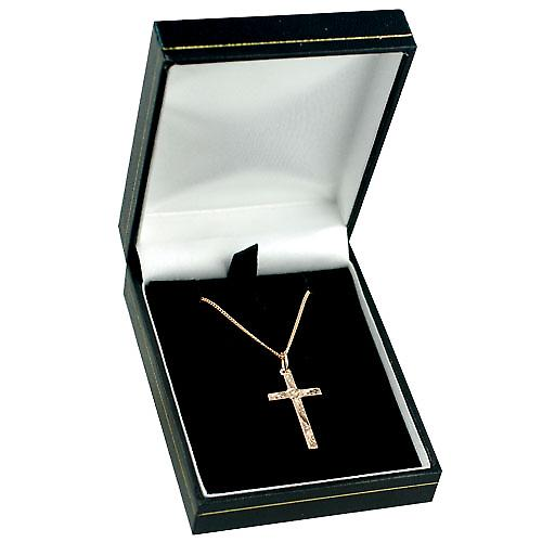 9ct Rose Gold 25x15mm victorian hand engraved solid block Cross with a curb Chain 16 inches Only Suitable for Children