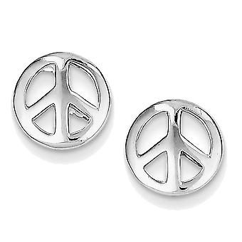 925 Sterling Silver Glossy Peace Sign Stud Earrings