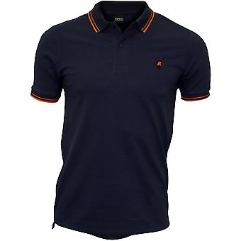 Replay Colour Contrast Polo Short, Indigo Blue