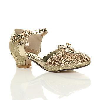 Ajvani chicas diamante arco hebilla correa corte zapatos sandalias de tacón bajo
