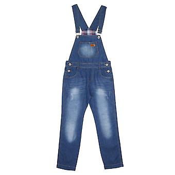 Children's Lightwash Denim Dungarees Boys Blue Slim leg Overalls age 6 8 10 12