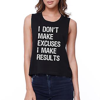 Excuses Results Womens Black Cotton Work Out Tank Top Crop Top Gift