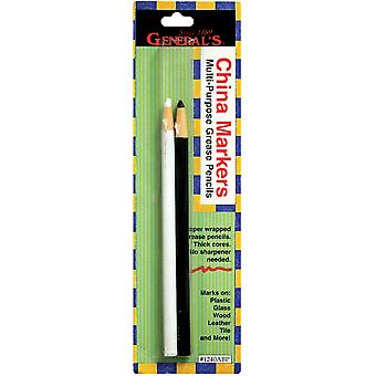 China Marker Multi Purpose Grease Pencils 2 Pkg Black & White 1240Abp