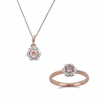 Gemondo 9ct Rose Gold Morganite & Diamond Floral 45cm ketting & Ring Set