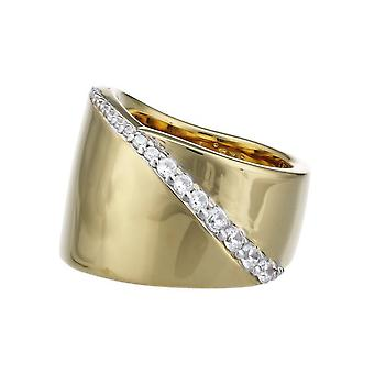 ESPRIT collection ladies ring Silver Gold cubic zirconia Phanes GR 18 ELRG92408B180
