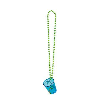Hawaiian Palm Tree Party Shot Glass with Necklace Party Supply-Blue