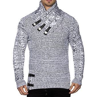 Tazzio fashion mens chunky knit sweater with white collar details